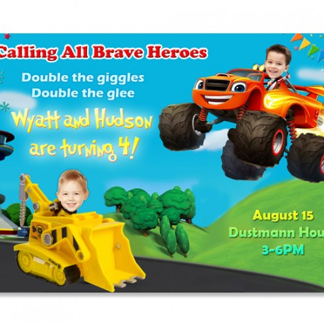 Joint Paw Patrol and Blaze and the Monster Machines Photo Invitations