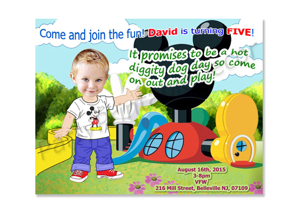 Mickey Mouse Clubhouse  Photo Birthday Invitations