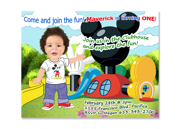 Mickey Mouse Clubhouse Birthday Photo Invitations / Digital Caricature