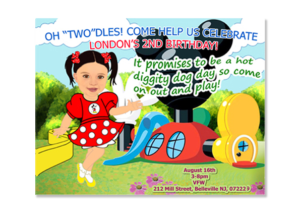 Minnie Mouse Clubhouse Birthday Photo Invitations / Digital Caricature