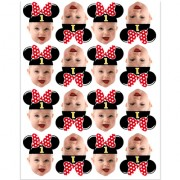Minnie Mouse Face Cupcake Toppers