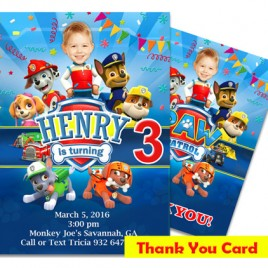 Printable Paw Patrol Photo Invitation with Thank You Card